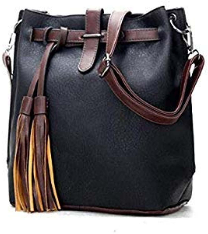 Hot Sale New Women pu Leather Handbags Tassel Fashion Designer Black Bucket Vintage Shoulder Bags Women Messenger Bag as Picture