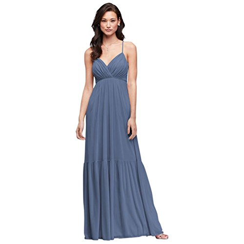David's Bridal Surplice Mesh Bridesmaid Dress with Peasant Skirt Style F19771, Steel Blue, 26