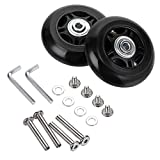 OwnMy 70mm x 24mm Luggage Suitcase Replacement Wheels, Rubber Swivel Caster Wheels Bearings Repair Kits, A Set of 2