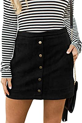 Meyeeka Suede Skirt for Women Casual A-line Mini Skirt Button Up Going Out Outfit Black M
