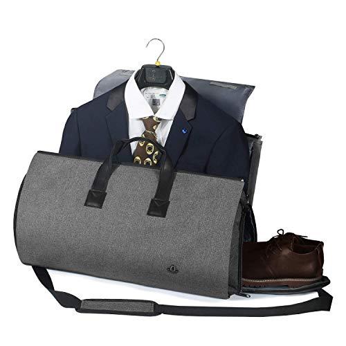 BUG Garment Bag Suit,Suit Bags for Men Travel,Convertible Garment Bag - 2 in 1 Hanging Suit Travel Bags for Men,Dark Gray - 2019 UPGRADE