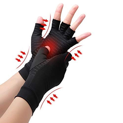 Waxden Copper Compression Arthritis Gloves Best Copper Infused Glove for Women and Men Fingerless Arthritis Gloves Pain Relief and Healing for Arthritis Carpal Tunnel 1 Pair Black Large