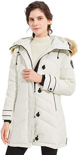Orolay Women s Hooded Slim Puffer Jacket Quilted Mid Length Winter Down CoatWhite 2XL product image