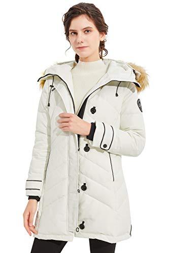 Orolay Chaqueta de Plumíferos de Media Caña para Mujer con Abrigo de Botón y Cierre de Cremallera blanco Medium
