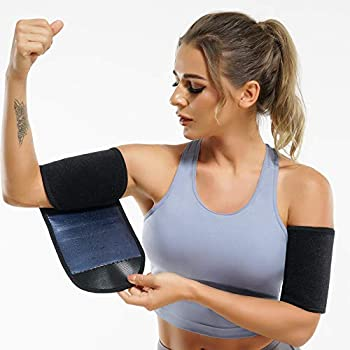Wonderience Women & Men Neoprene Arm Trimmers Slimming Compression Sleeve Sauna Sweat Band for Workout  Blue One Size