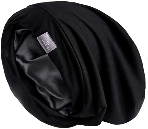 YANIBEST Hair Cover Bonnet Satin Sleep Cap Pure Black Adjustable Stay on Silk Lined Slouchy product image