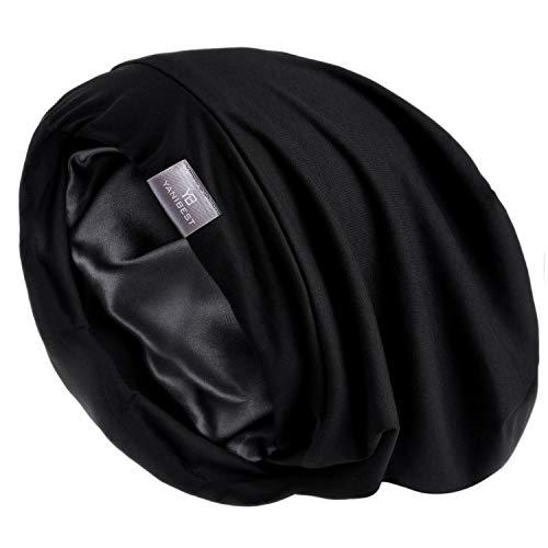YANIBEST Hair Cover Bonnet Satin Sleep Cap - Pure Black Adjustable Stay on Silk Lined Slouchy Beanie Hat for Night Sleeping