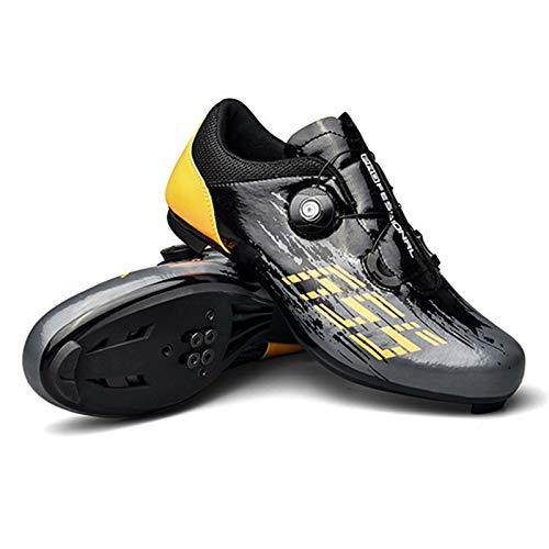 Calzado de Ciclismo para Hombre y Mujer - Calzado Giratorio para Montar en Carretera Hebilla de Zapato Transpirable Calzado de Ciclismo para Interior SPD Compatible Calzado de Bicicleta con Pedal