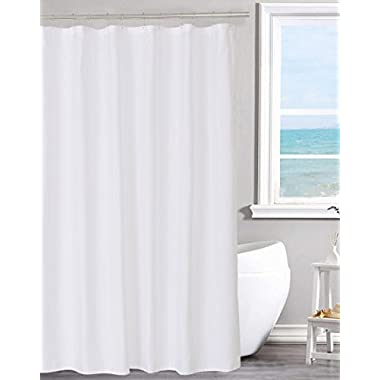 Fabric Shower Curtain Liner Solid White, Hotel Quality, Water repellent, Mildew Resistant, Washable, Odorless, Spa, 70 x 72 inches for Bathroom