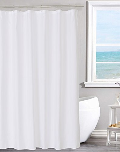 N&Y HOME Fabric Shower Curtain Liner Solid White with Magnets, Hotel Quality, Machine Washable,70 x 72 inches for Bathroom, 70'x72'