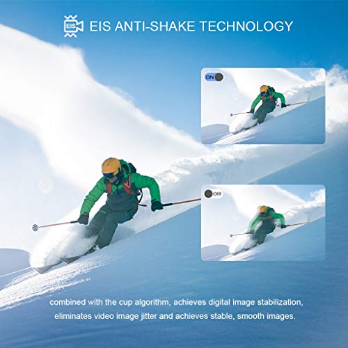 【2019 New】Apexcam Action cam 4K 20MP Sportkamera EIS WiFi Wasserdichte Unterwasserkamera 40M Externes Mikrofon 2.0'LCD 170 ° Weitwinkel 2,4G Fernbedienung 2x1200mAh-Batterien und mehrere Zubehörteile - 4