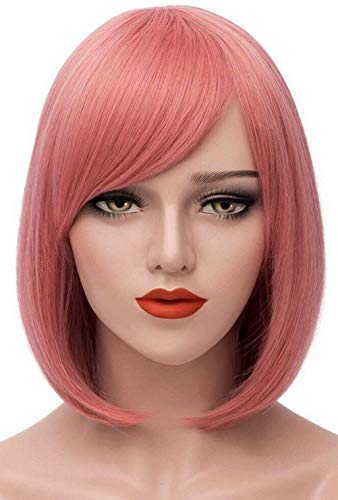 Mersi Short Pink Wigs for Women, 12'' Cute Straight Bob Hair Wig with Bangs, Soft Natural Synthetic Full Wigs for Daily Party Cosplay Halloween S009PK