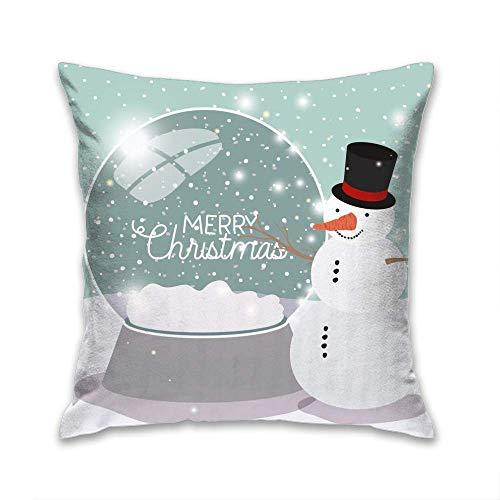 N\A Fodera per Cuscino Decorativo per la casa, Mery Christmas Card con Pupazzo di Neve e Sfera, Federa Quadrata Decorativa