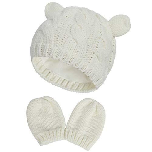 Yixda Neugeborene Baby Mütze und Handschuhe Set Kleinkind Winter Strickmütze Hüte (Weiß 2, 0-3 Monate)