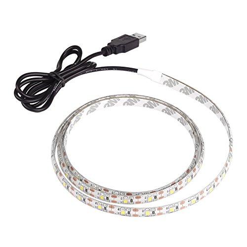 Vangonee Bande lumineuse LED USB Blanc froid DC 5 V 1 m 3528 SMD 60 LED Bande lumineuse avec télécommande pour rétroéclairage TV, chambre à coucher, fête, décoration d'intérieur