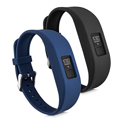 kwmobile Pulsera Compatible con Garmin Vivofit 3 Talla S - Brazalete de Silicona en Negro/Azul Oscuro sin Tracker