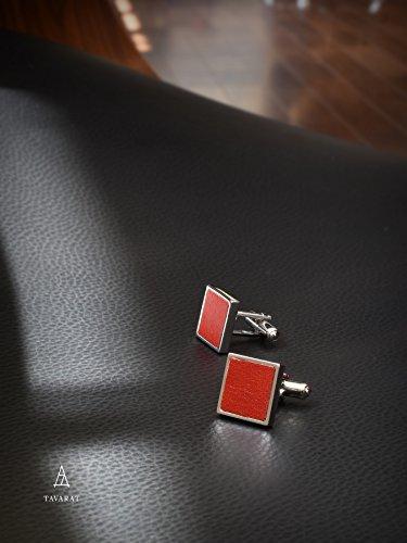『[タバラット] カフスボタン カフス メンズ 本革 日本製 真鍮 カフリンクス (レッド)』の3枚目の画像