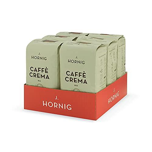 J. Hornig Kaffeebohnen Bio & Fair Trade, Caffè Crema Bio, 6x1000g, kräftig nussiges Aroma, perfekt für Espresso, Cappuccino und Mokka, ganze Bohnen