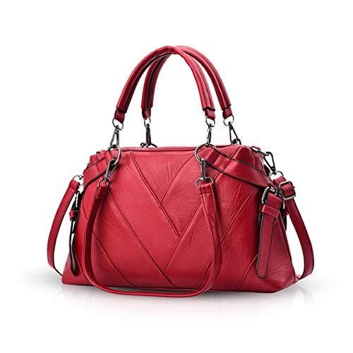 NICOLE & DORIS Handtaschen für Damen Top-Griff Taschen für Frauen große Umhängetasche Weinrot
