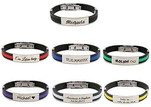 aplusashop ID Kautschuk Armband mit Edelstahlplatte inkl. Gravur nach Wunsch in 7 Farben (Gummi/Silikon) (Schwarz-gelb)