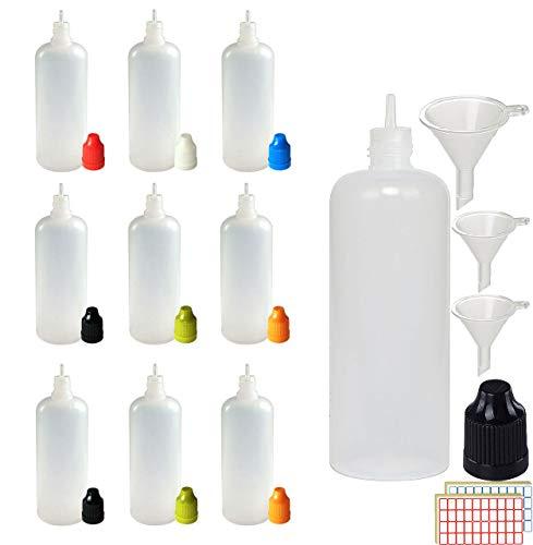 XIAONAN 20 x 120ml Leerflaschen Liquidflaschen Plastikflaschen Dropper Kunststoff Tropfflaschen + 4 Trichter (Flaschen + Gemischte Kappen + Spitzen + Trichter + Leere Etiketten)