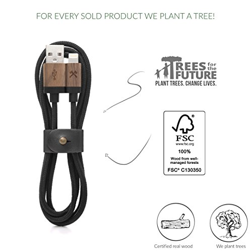 Woodcessories - Kabel kompatibel mit Apple Lightning Produkten aus Holz & Nylon - EcoCable (Walnuss/Schwarz)