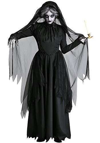 Lecoyeee Damen Horror Zombiebraut Kostüm Halloween Fasching Geist Braut Vampir Hexe Kostüm Gruselig Karneval Verkleidung Party Geisterbraut Sexy Cosplay Kleid Set für Erwachsene Frauen Faschingskostüm