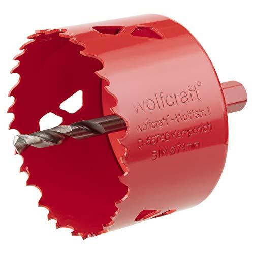 Wolfcraft 5475000 sierras de corona BiM, completo con adaptador y broca piloto, profundidad de corte 40 mm PACK 1, rojo