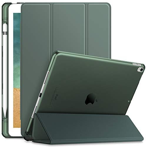 INFILAND Hülle für iPad Air 10,5'' 2019 (3. Generation) / iPad Pro 10,5 2017, iPad Air 3 Hülle, Superleicht Durchscheinend Gefrostet Hülle mit Apple Pencil Halter, Auto Schlafen/Wachen,Dunkelgrün