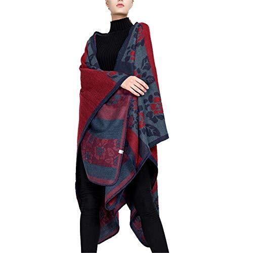 YzDnF Mujeres Manta Caliente de la Bufanda American Pattern Flower Street Style de Split cálido Chal Bufanda Regalo otoño e Invierno Europea y (Color : Wine Red, Size : 160x135cm)