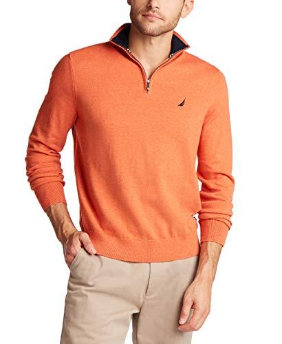Nautica Men's Navtech Quarter-Zip Sweater, Rustic Sunset Heather, Large