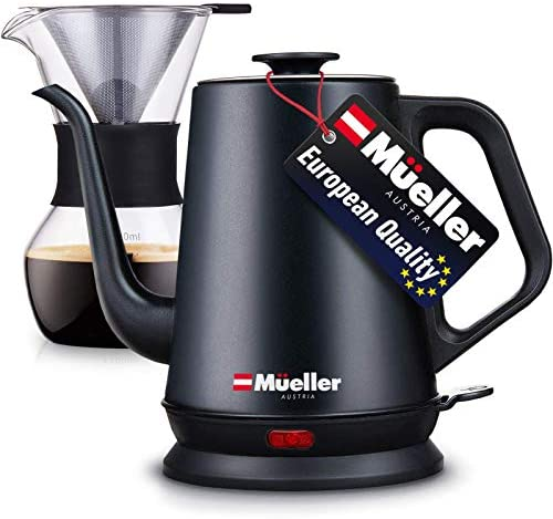Mueller Coffee Serving Set Electric Gooseneck Kettle with Pour Over Drip Set Coffee Maker Stainless product image