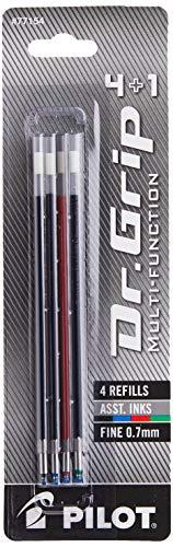 PILOT Dr. Grip 4+1 Multi-Function Ballpoint Ink Refills, Fine Point, Black/Red/Blue/Green Inks, 4-Pack (77154)
