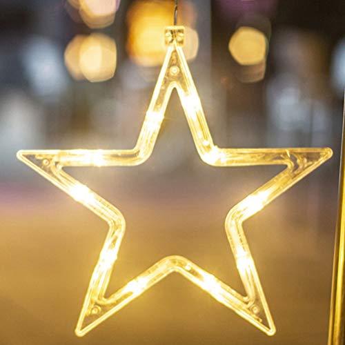OSALADI 2Pcs Weihnachtslichter Batteriebetriebenes LED Hängendes Fensterlicht mit Saugnapf Weihnachtsdekoration Schaufensterdekoration Mond Und Stern