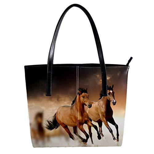 Indimization Thermo-Einkaufstasche für Lebensmitteleinkäufe Transport von kalten oder warmen Lebensmitteln wiederverwendbarer Umweltschutz mit großer Kapazität Laufpferd braun 40 x 29 x 9cm