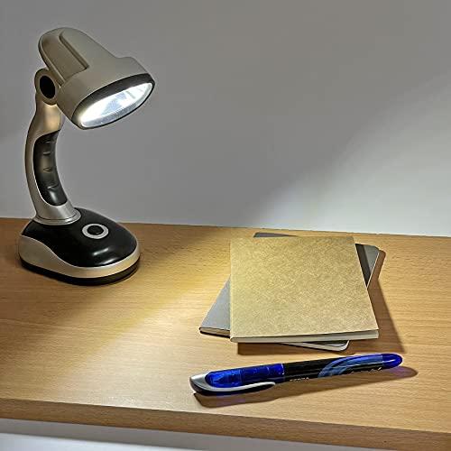 Lámpara de mesa para escritorio a pilas. Foco inclinable. Luz LED COB blanca