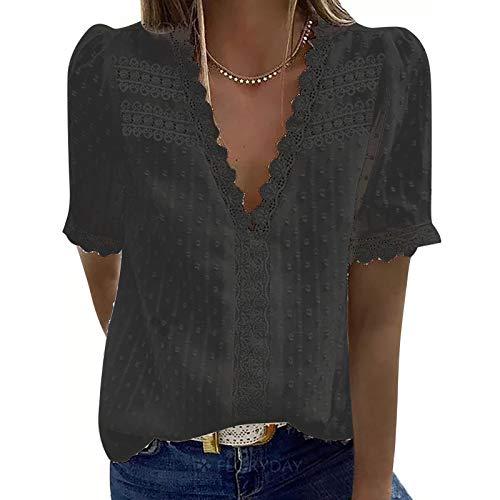 FMYONF Camisa de encaje para mujer, cuello en V, elegante, vintage, gasa, monocolor, manga corta, túnica