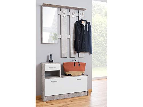möbelando Garderobe Minigarderobe Garderobenprogramm Kompaktgarderobe Flurmöbel Renton I Strukturbeton/Weiß