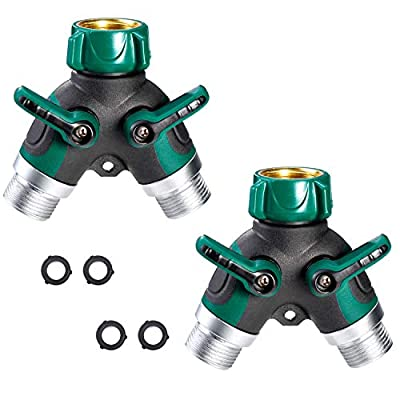 Delxo Garden Hose Splitter 2 Way Y Valve Metal Hose Connector,Solid Brass Hose Connector Garden Splitter Adapter Outdoor for Outdoor Faucet Timers,2 Rubber Hose Washers