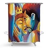 JOOCAR Design Duschvorhang, Afro Sexy Queen & King Lover Couple Art Aquarell Frau Portrait Bild Druck, wasserdichter Stoff Stoff Badezimmer Dekor Set mit Haken