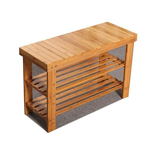 HYY-YY Bamboo Furniture - Zapatero pequeño de 3 niveles, 50 x 45 x 27 cm, color madera, tamaño: 45 x 27 x 50 cm