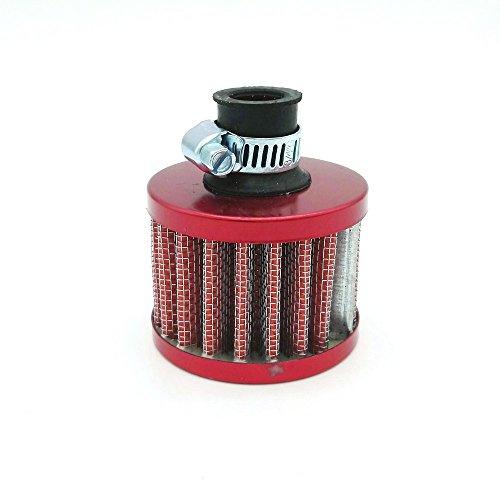 Heinmo 12 mm Mini Rouge Cône filtre d'entrée d'air froid Turbo Vent de voiture Moteur