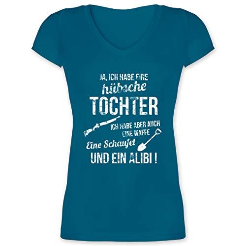 Muttertagsgeschenk - Ich Habe eine hübsche Tochter - L - Türkis - t-Shirt sprueche - XO1525 - Damen T-Shirt mit V-Ausschnitt