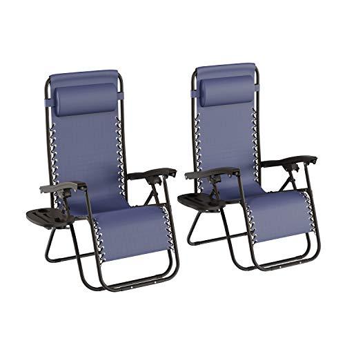 Lavish Home 380997KXO Zero Gravity Lounge Chairs, Navy