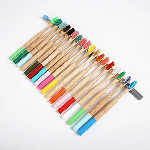Cepillo de dientes de bambú de madera compostable con mango redondo color natural protección del medio ambiente Color al azar 20 PCS