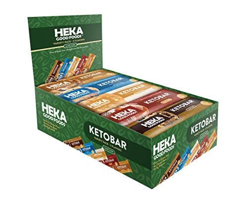 Heka Good Foods Low Carb Keto Bars, Variety Sampler Pack, 1-2g Net Carb, 10-11g Protein, No Sugar Added, Grain & Gluten Free, 20 Count 1