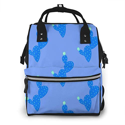 UUwant Sac à Dos à Couches pour Maman Large Capacity Diaper Backpack Travel Manager Baby Care Replacement Bag Nappy Bags Mummy BackpackSummer Time Blue Cactus Vector Image