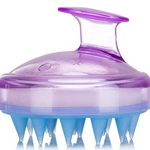 Hair Scalp Massager, SILISCRUB-Original Soft Silicone Shampoo Brush Head Tourmaline Contained (Purple)