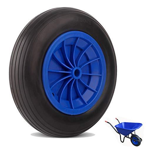 everfarel Goma ruedas Rueda de carretilla (260/350/390 mm Cochecitos de neumáticos goma rueda de repuesto antipinchazos (350mmPU,Negro&Azul)