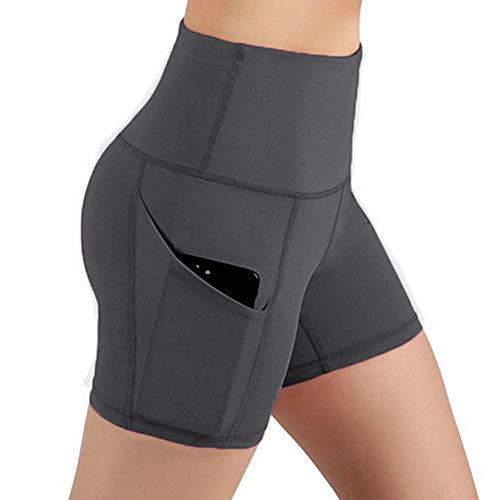 ORQ pantalones cortos deportivos elásticos de cintura alta, cómodos pantalones cortos deportivos para yoga, correr, fitness, con bolsillo